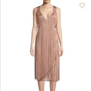Herve Leger Midi Fringe Dress S Rose Gold